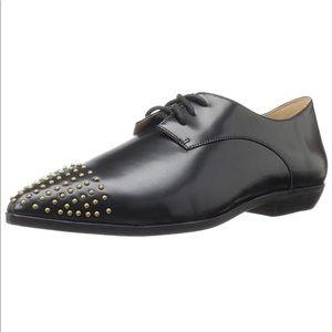 Genuine Leather Studded Cap Toe Boyfriend Loafers